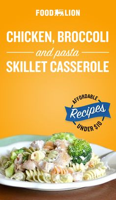 Chicken, Broccoli and Pasta Skillet Casserole Broccoli Recipes, Chicken Broccoli, Meat Recipes, Pasta Recipes, Salad Recipes, Chicken Recipes, Cooking Recipes, Healthy Recipes, Pasta Facil