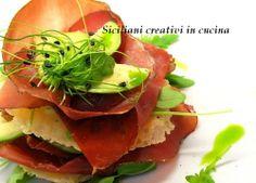 Bresaola, Parmigiano Reggiano,avocado millefeuille   SICILIANI CREATIVI IN CUCINA  