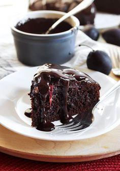 Moist Chocolate Plum Cake with Honey Chocolate Sauce