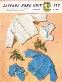Lavenda 733 - baby cardigan - vintage knitting pattern