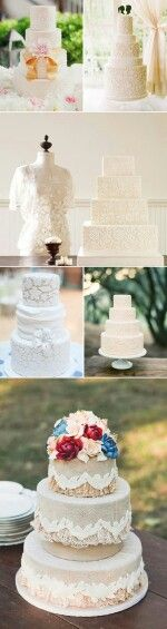 Lace details  Lace isn't just for your wedding dress anymore. If you are looking for an elegant wedding cake with a touch of vintage to match your dress, a laced cake is definitely for you! This lovely, feminine texture is perfect for your romantic confection.
