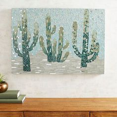 Cactus Garden Mosaic Wall Panel Pier - Handcrafted In Indonesia Our Glass And Mirror Mosaic Presents The Unexpected Beauty Of A Southwestern Desert Scene Sized Perfectly For High Impact In Your Living Room Or Family Room This Will Be A Cactus House Plants, Cactus Art, Cactus Flower, Flower Bookey, Flower Film, Flower Skirt, Cactus Decor, Flower Pots, Mirror Mosaic