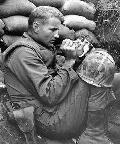 Marine sergeant Frank Praytor feeds a kitten. Korea, 1953.