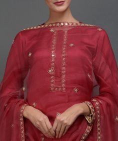 1efd33dd51313e Red Hand Embroidered Pearl Beads and Gota Patti Work Palazzo Suit in ...