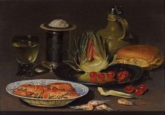 'Bodegón con alcachofa, cangrejos y cerezas', pintado en torno a 1618 por Clara Peeters, pintora flamenca que se especializó en naturalezas muertas. El óleo es uno de los 11 de la exposición 'De la vida doméstica. Bodegones flamencos y holandeses del siglo XVII'