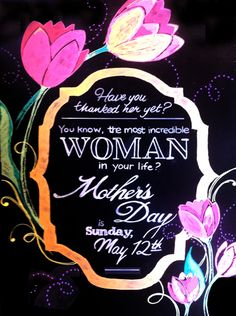 Mother's Day chalkboard Florist Window Display, Spring Window Display, Window Display Retail, Retail Displays, Mothers Day Signs, Mothers Day Flowers, Happy Mothers Day, Flower Shop Decor, Boutique Window Displays