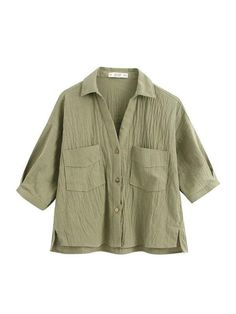 Half Sleeves, Types Of Sleeves, Women's Flares, Linen Blouse, Vintage Shorts, Green Pattern, Manga, Aesthetic Clothes, Army Green