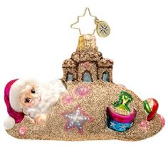 Christopher Radko SANDY CLAUS Beach Santa Vacation ornament NEW FREE USA SHIPPING www.radkoforsale.com summer