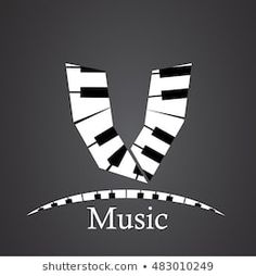 Abstract vector alphabet - v made from piano - alphabet set Letter V, Notes, Music Class, Abstract, Piano, Monograms, Black And White, Lyrics, Letters