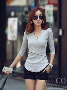 Grey V-Neckline 3/4 Sleeves Casual Urban Style Blouse