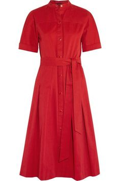 Vanessa Seward - Dune Belted Pleated Cotton-gabardine Dress - Red