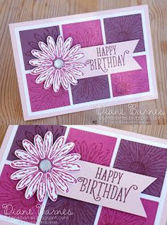 handmade daisy birthday card using Stampin Up Daisy Delight stamp set, daisy punch & Stitched Shapes dies. Card by Di Barnes Annual Catalogue Birthday Cards For Women, Happy Birthday Cards, Birthday Cards Handmade Female, Female Birthday Cards, Birthday Gifts, Homemade Birthday Cards, Homemade Cards, Happpy Birthday, Teen Birthday
