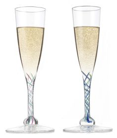 color champagne flutes | RIBBONED GLASS CHAMPAGNE FLUTES