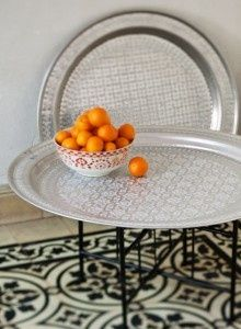 Morrocan style trays make a gorgeous coffee table! Moroccan Theme, Moroccan Design, Moroccan Style, Morrocan Table, Moroccan Bedroom, Moroccan Interiors, Marrakech, Oriental Decor, Metal Trays