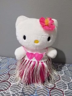"Hula Dance Hello Kitty 2001 8"" Plush  (Responds to Music & Sound) by Sanrio RARE #Sanrio #Sanrio"