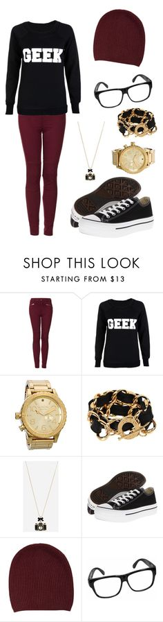 """""""Cute Nerd"""" by amybreen ❤ liked on Polyvore featuring Topshop, Nixon, CC SKYE, Betsey Johnson, Converse, FWSS and shamelessselfpromotion"""