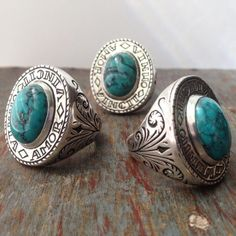 Hand engraved Amor Rings. Sterling silver with turquoise gemstones. #handmade #brooklyn #jewelry #lhnjewelry (at LHN Jewelry)