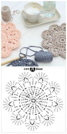 Crochet ideas that you'll love Crochet Potholder Patterns, Crochet Coaster Pattern, Crochet Mandala Pattern, Crochet Circles, Crochet Flower Patterns, Crochet Chart, Love Crochet, Diy Crochet, Crochet Flowers
