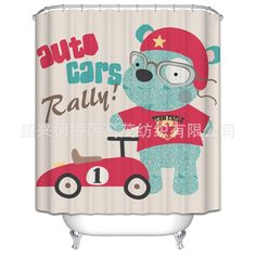 Cartoon Cute Animal Red Car Pattern Shower Curtain Polyester Waterproof Bathroom Partition Shower Curtain 180x180cm