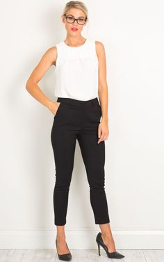 Look office ready in these super chic black pants that are ideal for the fashion savvy businesswoman. Although a slim fit, they will flatter any figure