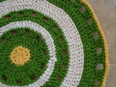 Bring Spring To Your Floor House Rug made from acrylic rug yarn and almost 30 inches round.  www.KaysKoolKrochet.Etsy.com