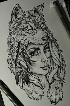 Girl head tattoosketch by Family Ink  #tattooart #tattoosketch #wolf #feather…                                                                                                                                                                                 More