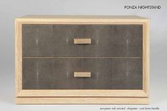 PONZA NIGHSTAND, EUROPAN AOK , SHAGREEN AND HANDLE IN CAST BRASS