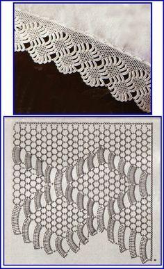 Marisabel crochet: февраль 2017 - Ganchillo y tela - Crochet Edging Tutorial, Crochet Edging Patterns, Crochet Lace Edging, Crochet Motifs, Crochet Borders, Crochet Diagram, Crochet Chart, Lace Patterns, Thread Crochet