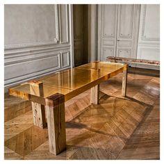 Wood Fossil table by Nucleo, Piergiorgio Robino and Stephania Fersini - epoxy resin and wood