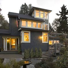 Exterior Painted Cedar Shake Design, Pictures, Remodel, Decor and Ideas - page 41- Grey siding white window framing