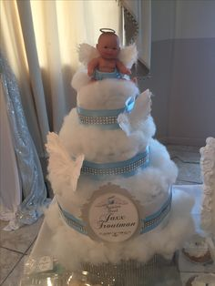 Heaven Sent Diaper Cake by @Sweetiesgoldenart