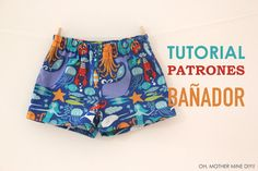 FREE swimming trunks pattern (in Spanish) Sewing Patterns For Kids, Sewing For Kids, Baby Sewing, Sew Baby, Baby Patterns, Baby Swim Pants, Baby Boy Romper, Diy Pantalon, Baby Boy Outfits
