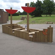 Tall and long, these playboats are an excellent addition to any playground. Timber playground equipment full of fun for kids with imagination.