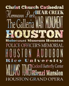 Houston Texas Typography Poster/Bus/ Subway Roll by LegacyHouseArt, $42.95