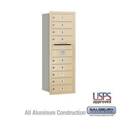 4C Horizontal Mailbox - 11 Door High Unit (41 Inches) - Single Column - 9 MB1 Doors - Sandstone - Rear Loading - USPS Access by Salsbury Industries. $472.50. 4C Horizontal Mailbox - 11 Door High Unit (41 Inches) - Single Column - 9 MB1 Doors - Sandstone - Rear Loading - USPS Access - Salsbury Industries - 820996452603