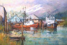 "Panhandle Dock, Alaska  14"" x 21"" image watercolor  SOLD         Tokyo Morning  19"" x 21"" image watercolor         Village Approach  8"" x ..."