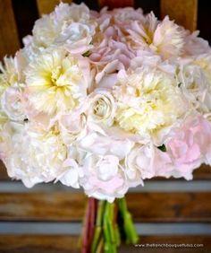 wedding bouquets peonies and hydrangeas   Soft and Chic Bridal Bouquet of Hydrangea, Peonies and Roses in Cream ...