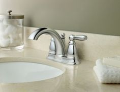 Brantford Chrome Lavatory Faucet with Pop-up Drain   -- 6610 -- Moen