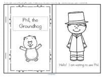 Informational emergent reader about the Groundhog Day tradition for early learners in b/w.