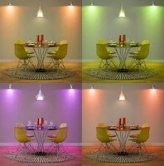 """Wnętrze w """"wiosennym nastroju"""" za sprawą systemu oświetlenia Philips Hue. #PhilipsLighting #PhilipsShowroom #Hue"""