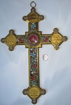 ANTIQUE MICRO MOSAIC BRASS CRUCIFIX WITH RELIC S MARCO EVANG XXL THECA CROSS