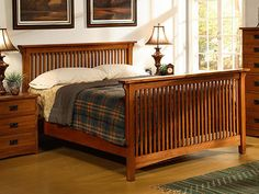 Complete your bedroom with a queen-size spindle bed from Mission. Bring the warmth of the Mission style to your bedroom with this American craftsman bed.