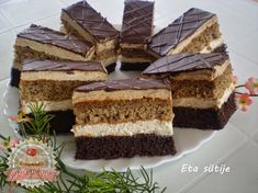 Useful articles and recipes: Charming Angelika slice Eta style Hungarian Desserts, Hungarian Cake, Hungarian Recipes, Romanian Food, Cake Bars, Winter Food, Cake Cookies, Nutella, Cookie Recipes