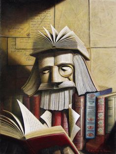 Book man! I know this is a painting, but it might not be hard to do with books...