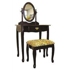 Vanity Table Set Cherry Wood Makeup W/Mirror & Stool Bedroom Furniture Bedroom Vanity Set, Vanity Table Set, Vanity Set With Mirror, Vanity Stool, Bedroom Vanities, Mirror Bedroom, Master Bedroom, Dream Bedroom, Table Mirror