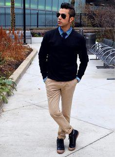 Men's Black V-neck Sweater, Blue Denim Shirt, Khaki Chinos, Black Leather High Top Sneakers