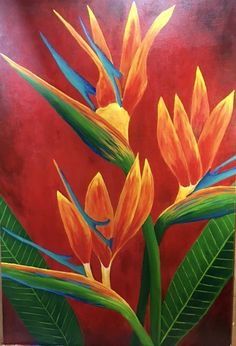 Andrew Ansaldi Painted Birds of Paradise from flowers in his garden. Base on a earlier lesson on our Academy lesson site. How wonderful is this. 24x36