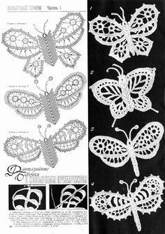 irish crochet flowers A collection of crochet patterns. Filet Crochet, Beau Crochet, Crochet Motifs, Crochet Diagram, Freeform Crochet, Thread Crochet, Crochet Stitches, Crochet Mittens, Crochet Butterfly