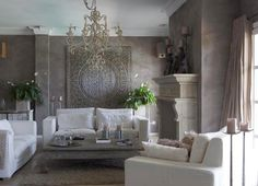 white couches, global chic. greige gray neutral modern - Google Search