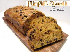Moist and delicious Pumpkin Chocolate Chip Zucchini Bread! This is the perfect fall recipe!